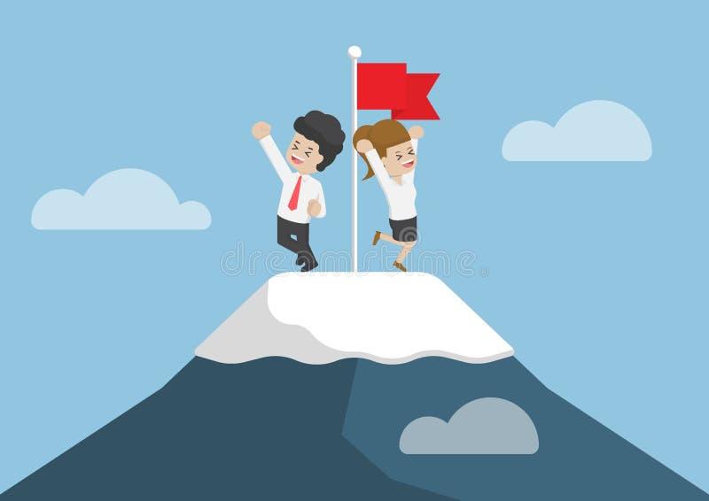 Homem de negócios Climbed à parte superior da montanha ilustração royalty free