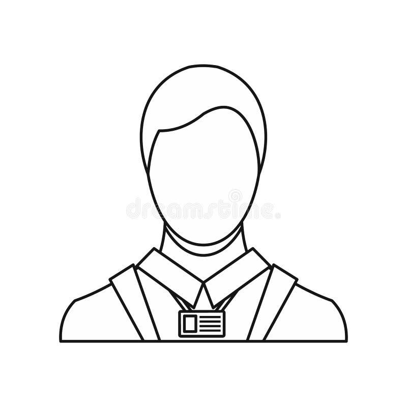 Homem de negócios com ícone do cartão de nome da identidade ilustração do vetor