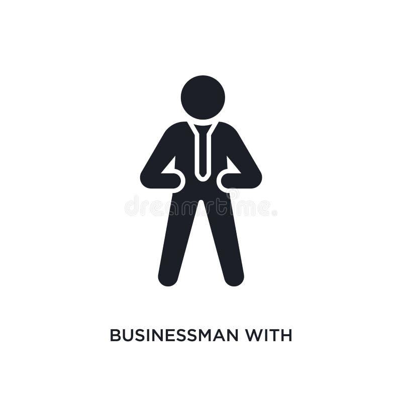 homem de negócios com ícone isolado laço ilustração simples do elemento dos ícones do conceito dos seres humanos homem de negócio ilustração do vetor