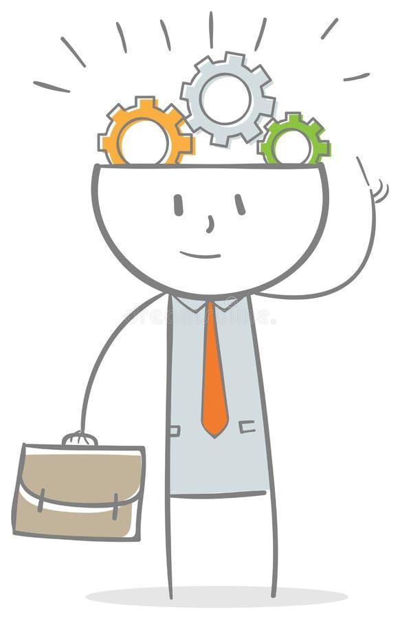 Homem de negócios com as engrenagens na cabeça ilustração stock