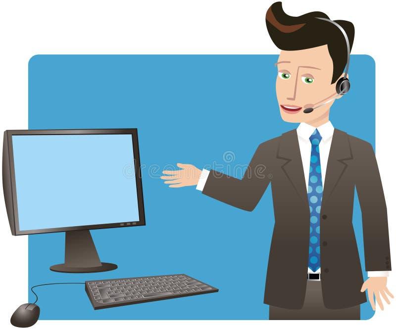 Homem de negócios com auriculares e computador ilustração do vetor