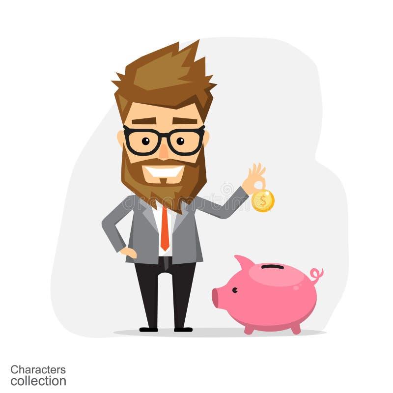 Homem de negócios com banco Piggy ilustração royalty free