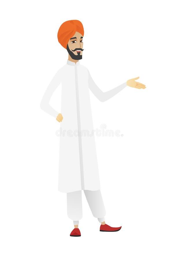 Homem de negócios com braço para fora em um gesto de acolhimento ilustração do vetor