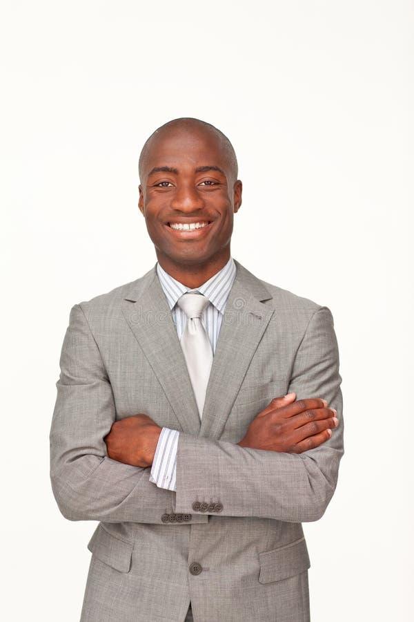 Homem de negócios com braços dobrados imagens de stock royalty free