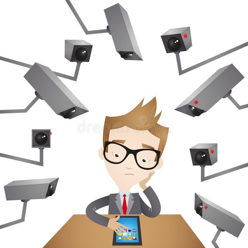 Homem de negócios com câmaras de vigilância ilustração do vetor