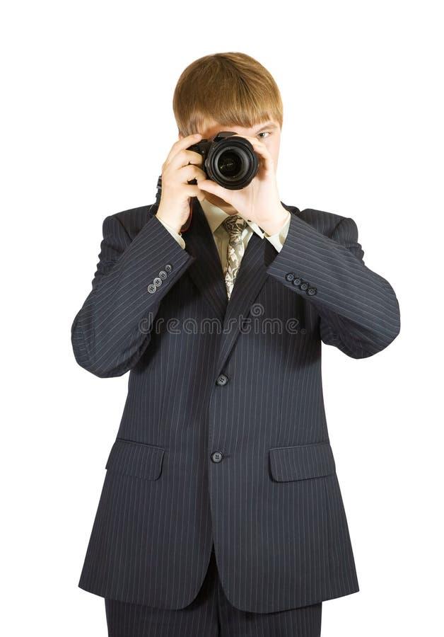 Homem de negócios com câmera imagens de stock royalty free