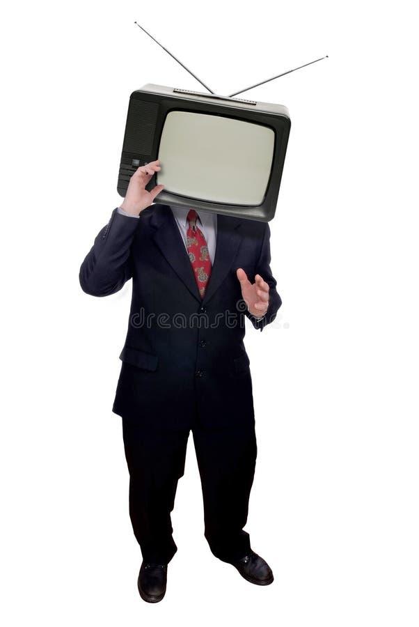 Homem de negócios com cabeça da televisão imagem de stock