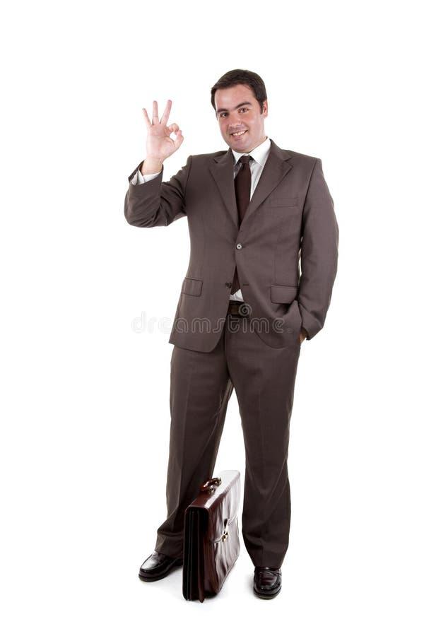 Homem de negócios com a caixa clássica marrom. fotografia de stock royalty free