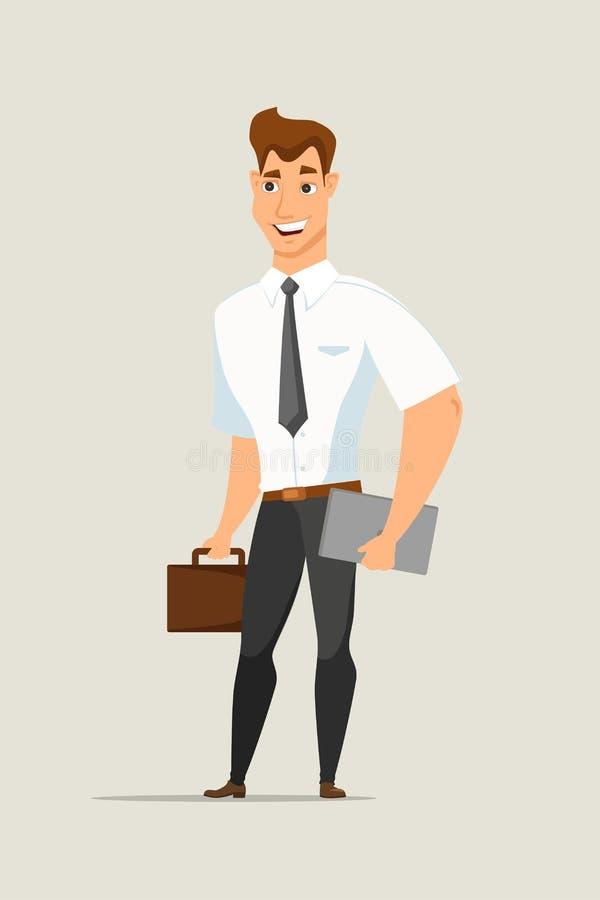 Homem de negócios com caráter liso do vetor da pasta ilustração stock