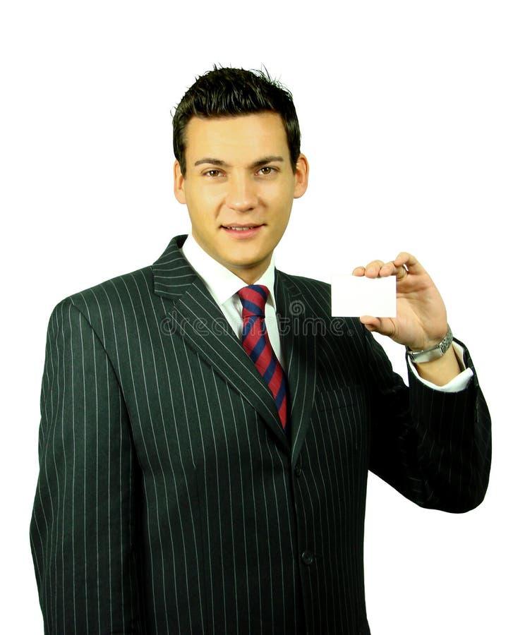 Homem de negócios com cartão imagens de stock royalty free