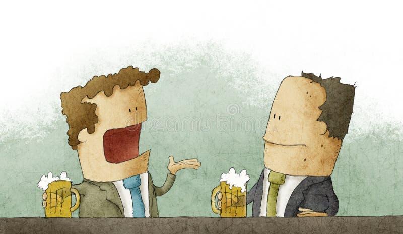 Homem de negócios com cerveja ilustração stock