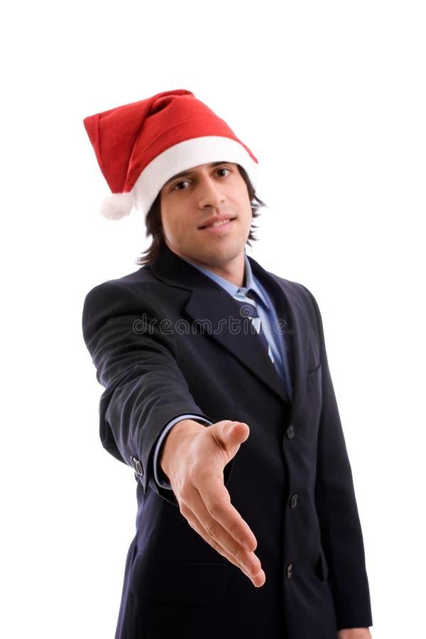 Homem de negócios com chapéu do Natal foto de stock
