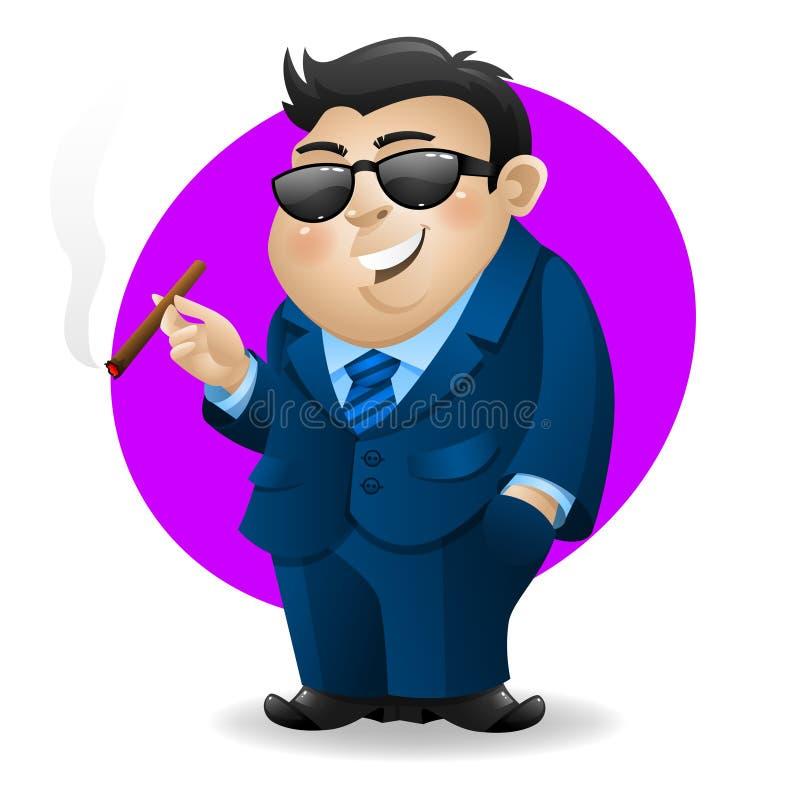 Homem de negócios com charuto ilustração do vetor