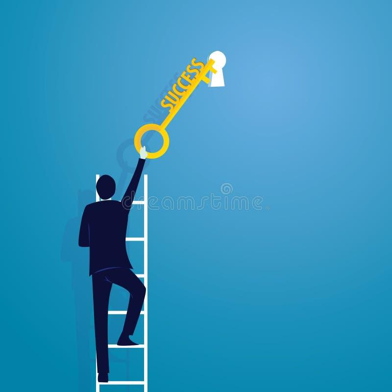 Homem de negócios com chave do sucesso ilustração do vetor