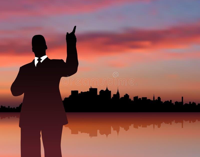 Homem de negócios com cidade e fundo do por do sol ilustração stock