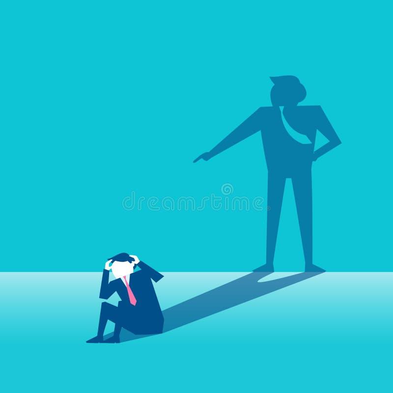 Homem de negócios com conceito da culpa ilustração stock