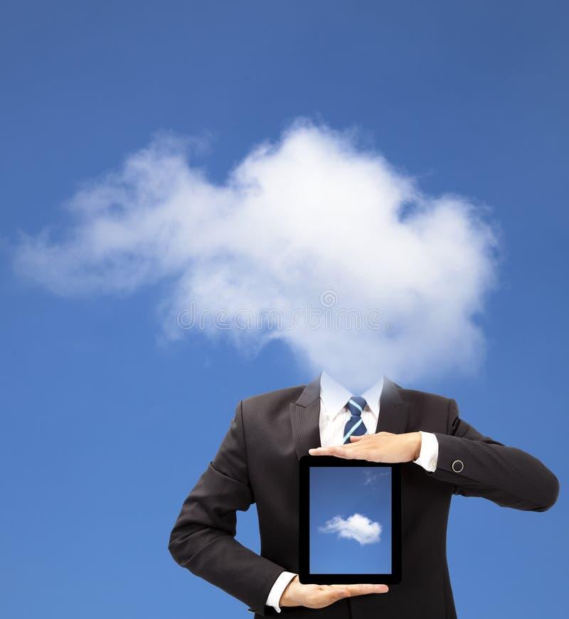 Homem de negócios com conceito de pensamento da nuvem imagens de stock