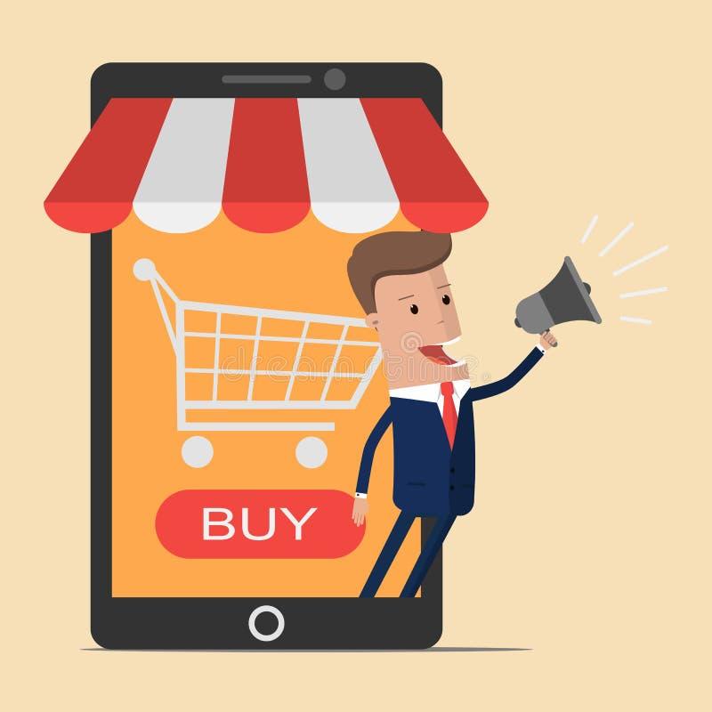 Homem de negócios com conceito em linha da loja no smartphone Negócio e conceito digital do mercado Compra móvel Ilustração do ve ilustração stock