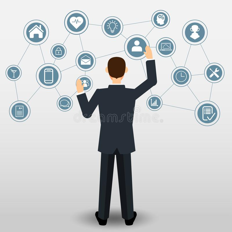 Homem de negócios com conexão dos ícones do negócio ilustração stock