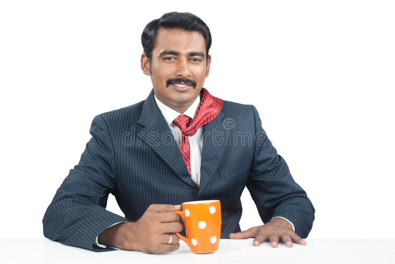 Homem de negócios com copo de café imagem de stock royalty free