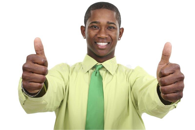 Homem de negócios com dois polegares acima fotos de stock