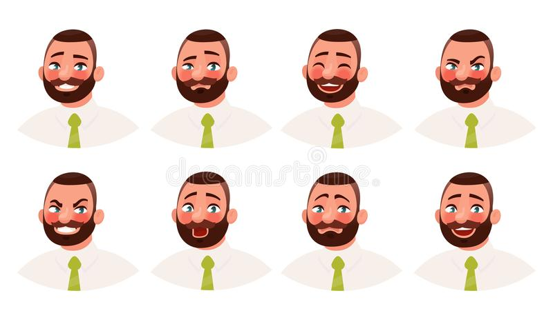Homem de negócios com emoções diferentes Um emoji farpado do trabalhador de escritório do homem Ilustração do vetor ilustração stock