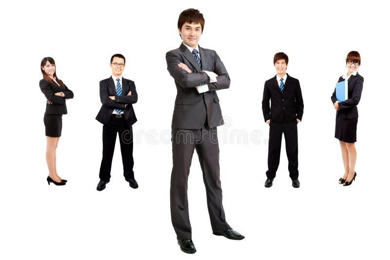 Homem de negócios com equipe do negócio fotografia de stock royalty free