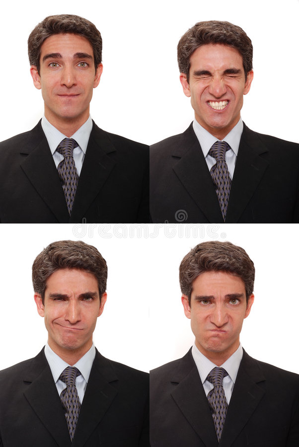 Homem de negócios com expressões múltiplas fotografia de stock royalty free