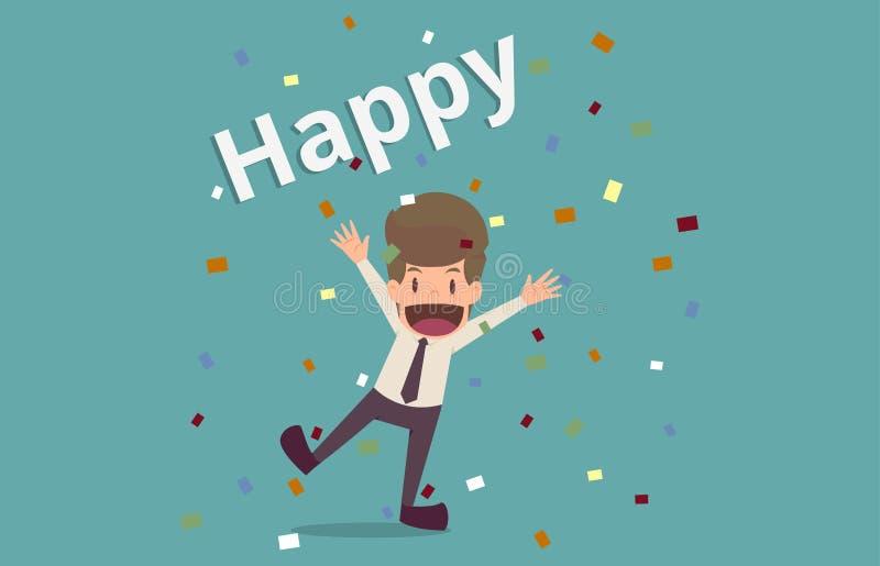 Homem de negócios com felicidade que comemora o sucesso desenhos animados do busine ilustração do vetor