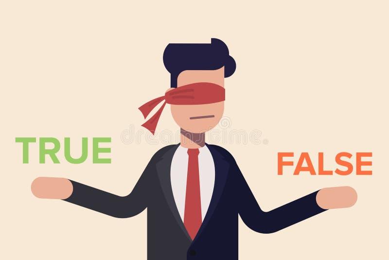 Homem de negócios com a fita vermelha na sua decisão do olho verdadeira ou falsa Illusration liso do vetor dos desenhos animados  ilustração stock