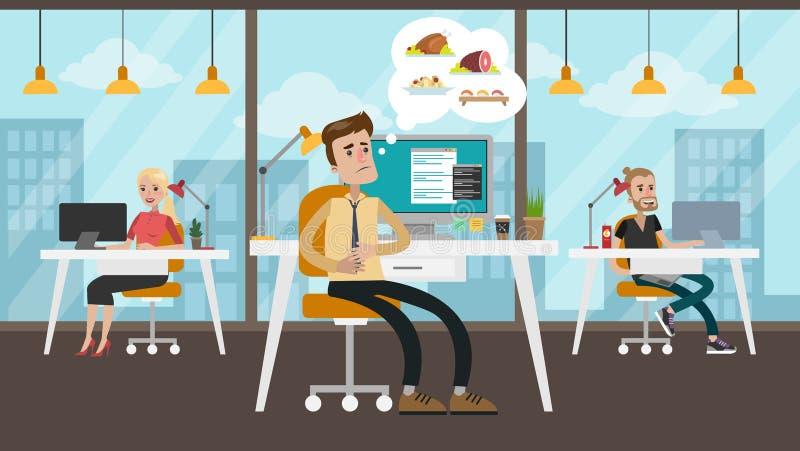 Homem de negócios com fome no escritório ilustração royalty free