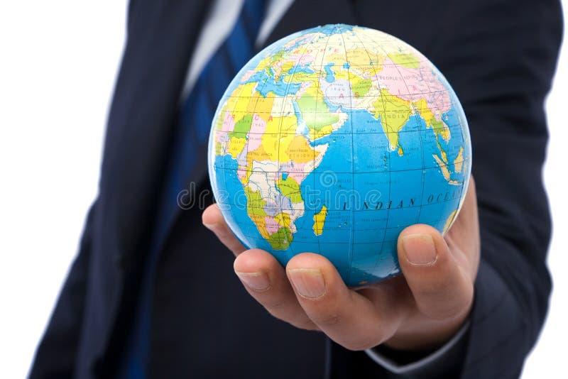 Homem de negócios com globo imagem de stock royalty free