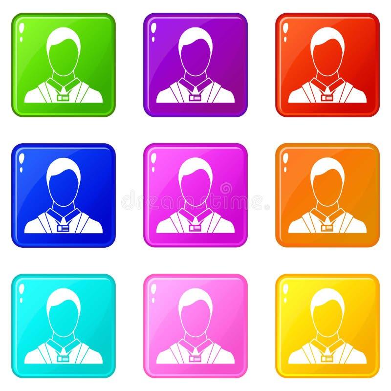 Homem de negócios com grupo de cartão 9 do nome da identidade ilustração stock