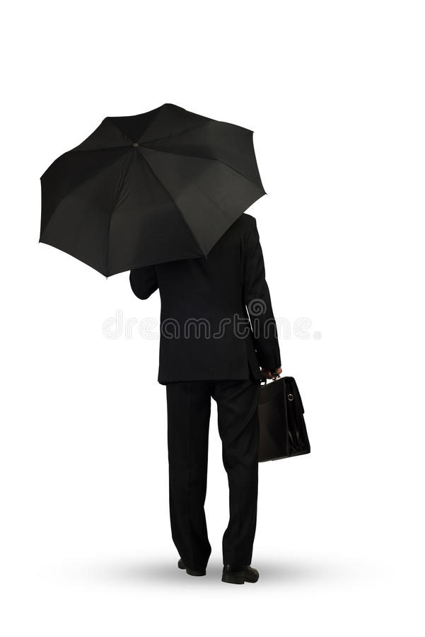 Homem de negócios com guarda-chuva fotos de stock royalty free