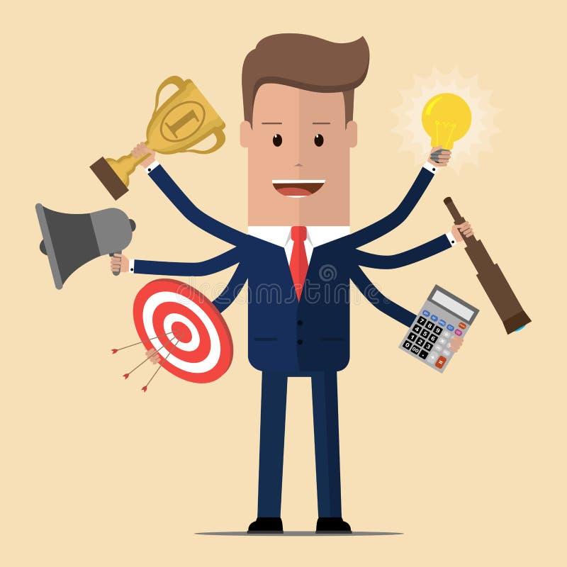 Homem de negócios com habilidade a multitarefas e multi Homem de negócios com seis mãos Ilustração do vetor ilustração royalty free
