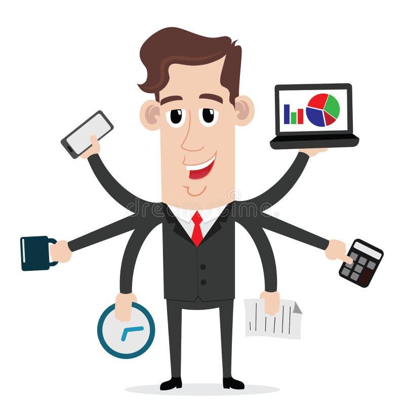 Homem de negócios com habilidades a multitarefas e multi ilustração royalty free