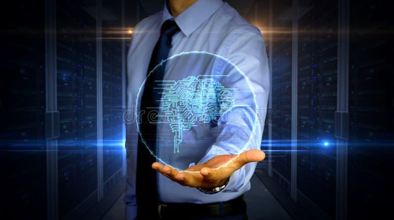 Homem de negócios com holograma cybernetic do símbolo do cérebro fotografia de stock royalty free