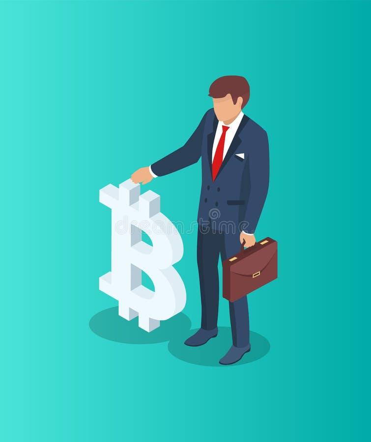 Homem de negócios com ilustração do vetor do sinal de Bitcoin ilustração stock