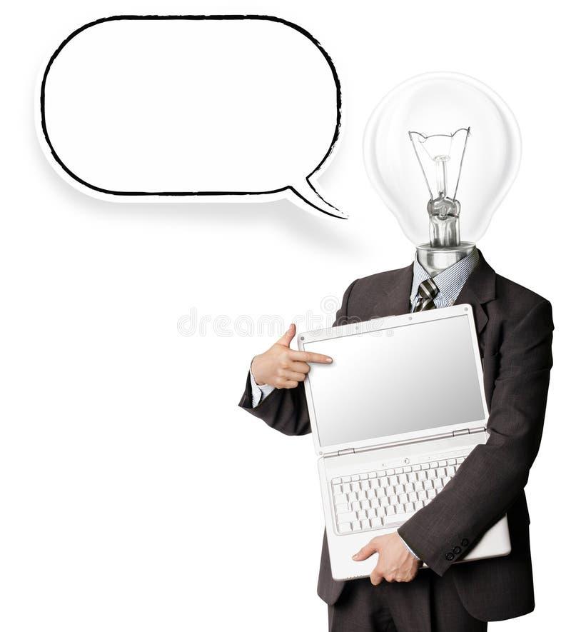 Homem de negócios com lâmpada-cabeça imagens de stock