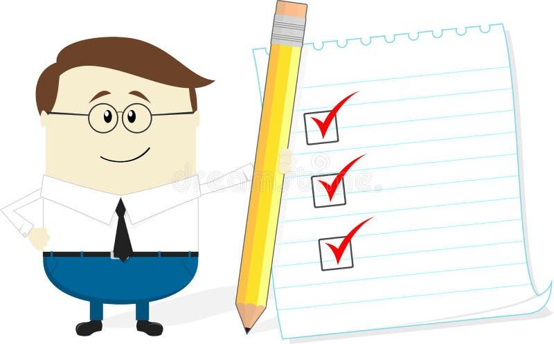 Homem de negócios com lista do lápis e de verificação ilustração do vetor