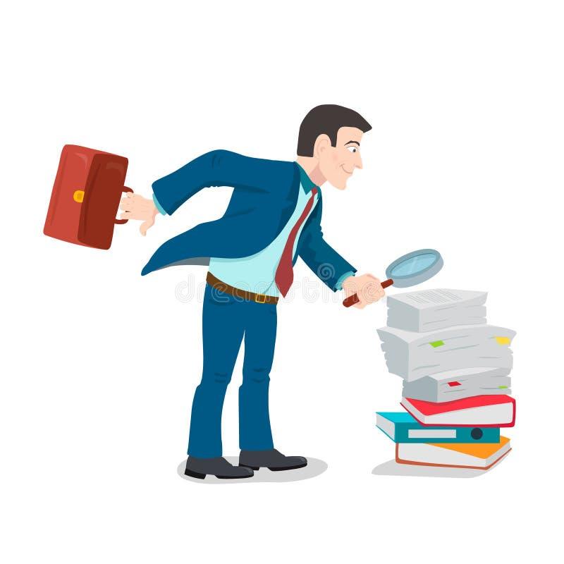 Homem de negócios com a lupa que está na pilha do papel, ilustração stock