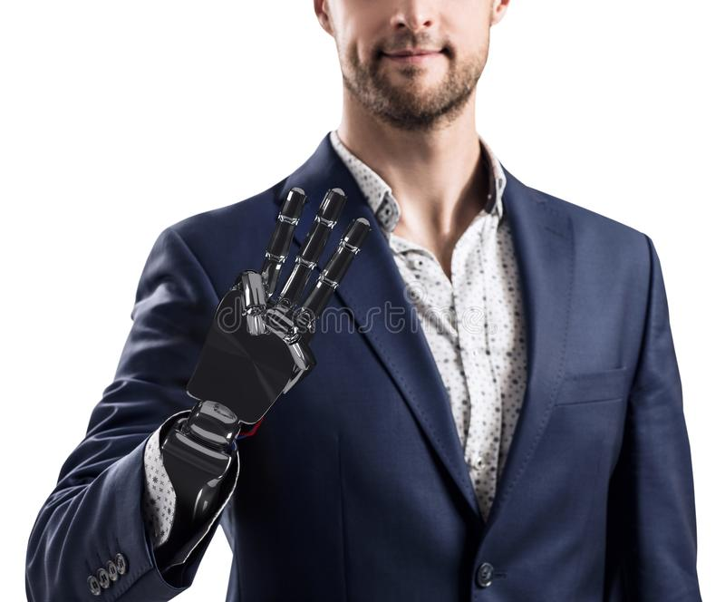 Homem de negócios com mão robótico Conceito da prótese rendição 3d fotos de stock royalty free