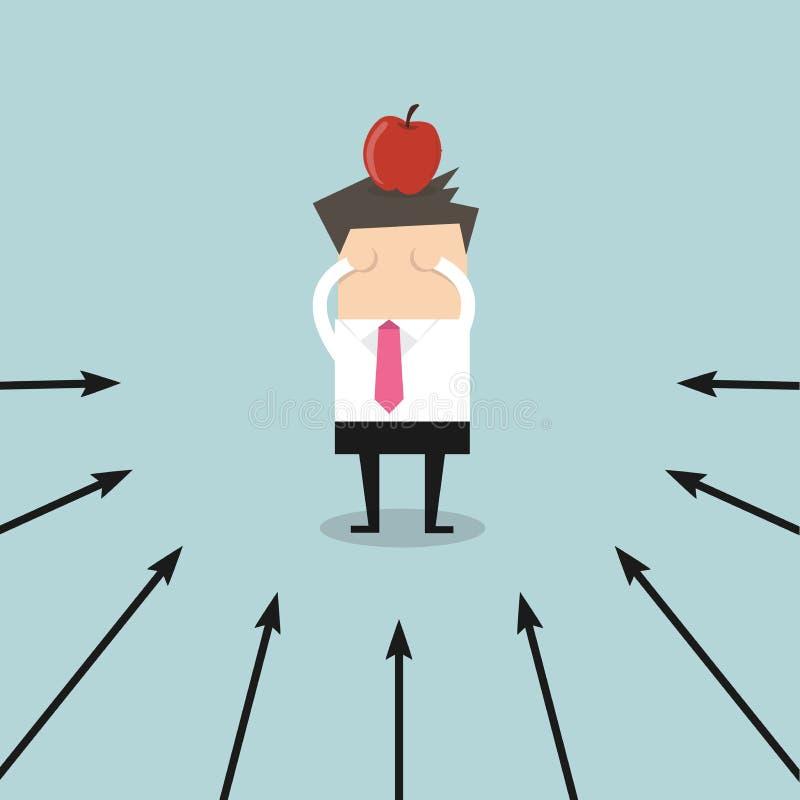 Homem de negócios com a maçã visada em sua cabeça no conceito, no mercado e no sucesso do sucesso ilustração royalty free