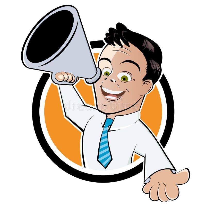 Homem de negócios com megafone ilustração royalty free
