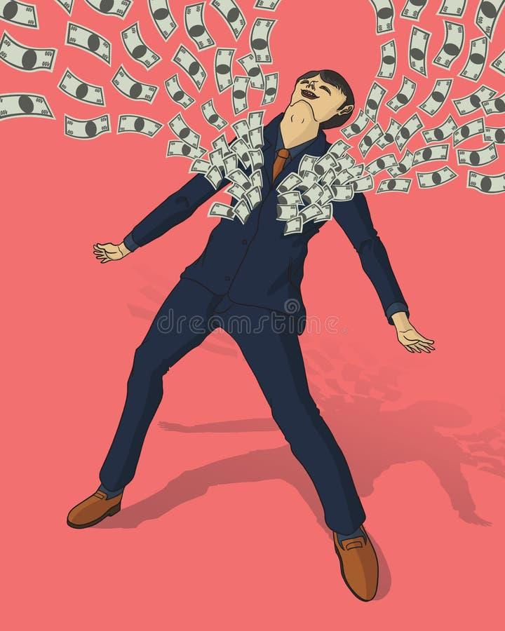 Homem de negócios com muitos dólares ilustração royalty free