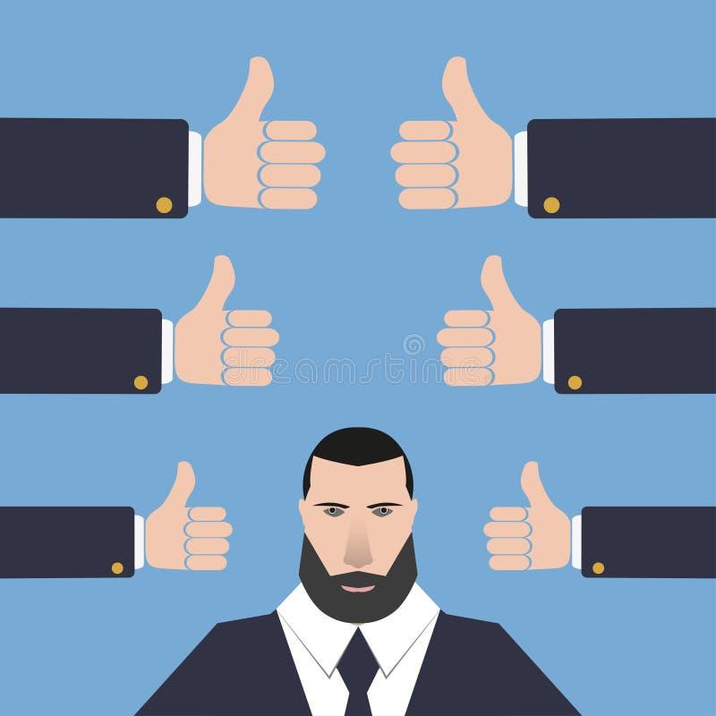 Homem de negócios com muitos polegares das mãos acima em um fundo azul ilustração royalty free