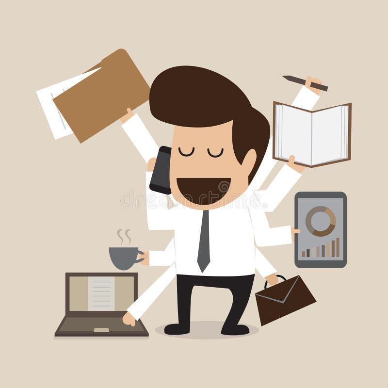 Homem de negócios com multi tasking e multi habilidade ilustração royalty free
