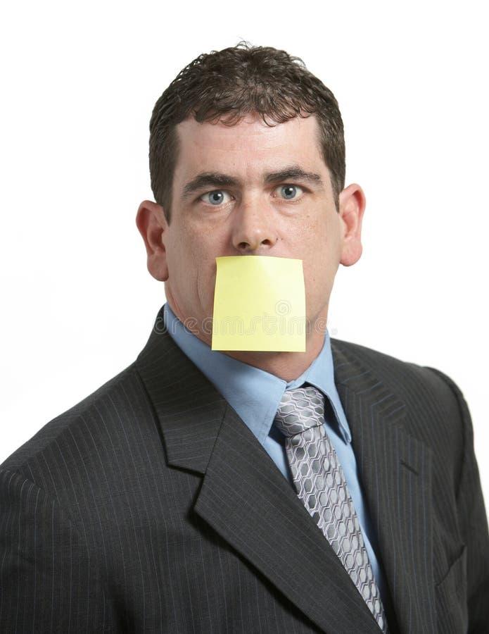 Homem de negócios com nota do lembrete foto de stock royalty free
