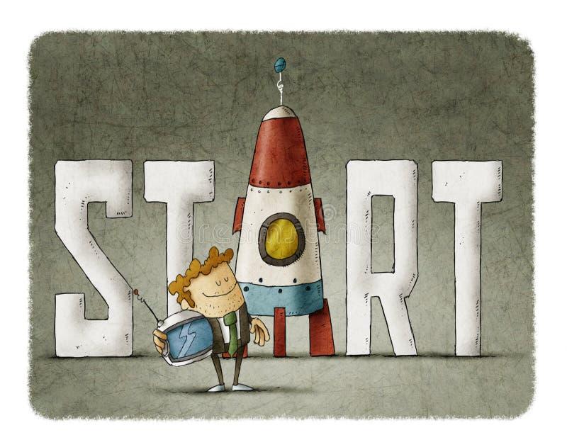 Homem de negócios com o começo da palavra e um foguete ilustração stock