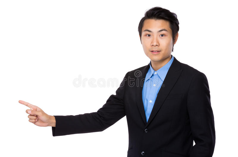 Homem de negócios com o dedo que aparece fotos de stock